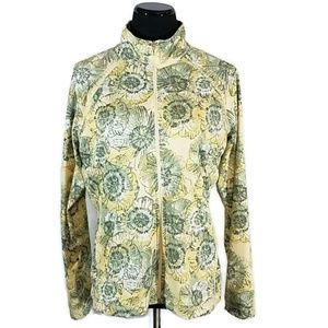 Style & Co Yellow Floral Zip Up Jacket